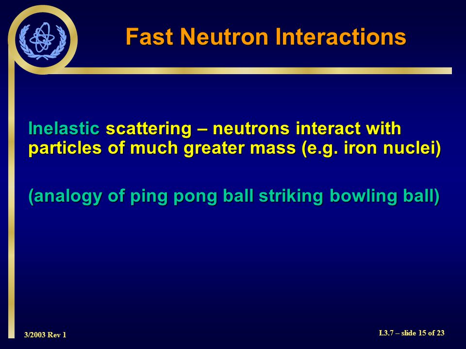 3/2003 Rev 1 I.3.7 – slide 15 of 23 Fast Neutron Interactions Inelastic scattering – neutrons interact with particles of much greater mass (e.g.