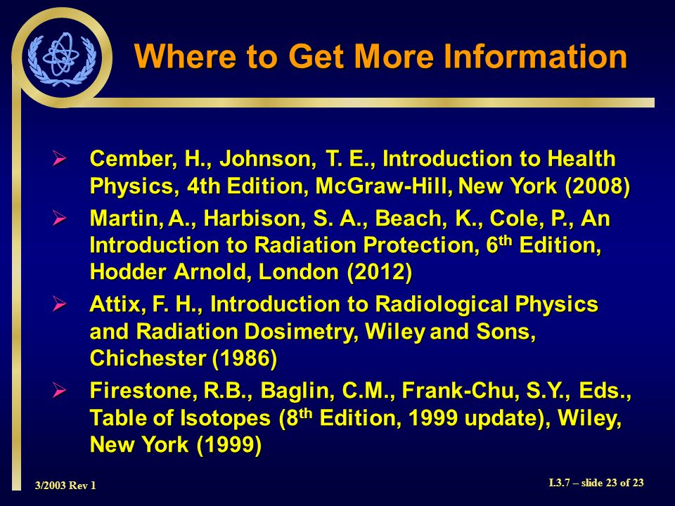 3/2003 Rev 1 I.3.7 – slide 23 of 23 Where to Get More Information  Cember, H., Johnson, T.