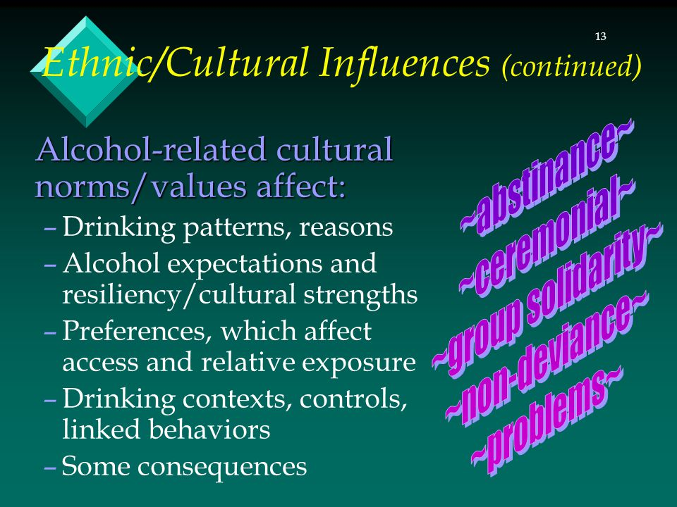 13 Ethnic/Cultural Influences (continued) Alcohol-related cultural norms/values affect: –Drinking patterns, reasons –Alcohol expectations and resiliency/cultural strengths –Preferences, which affect access and relative exposure –Drinking contexts, controls, linked behaviors –Some consequences