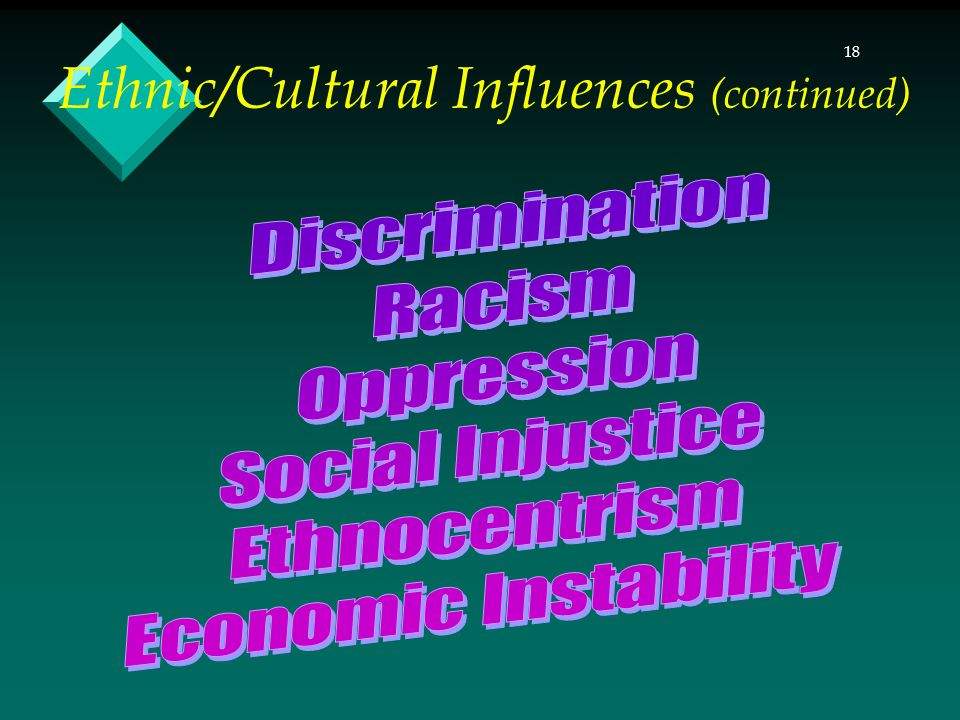 18 Ethnic/Cultural Influences (continued)