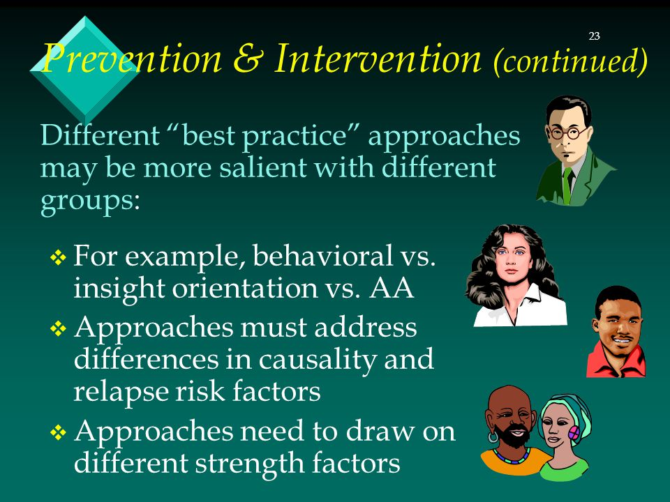 23 Different best practice approaches may be more salient with different groups:  For example, behavioral vs.