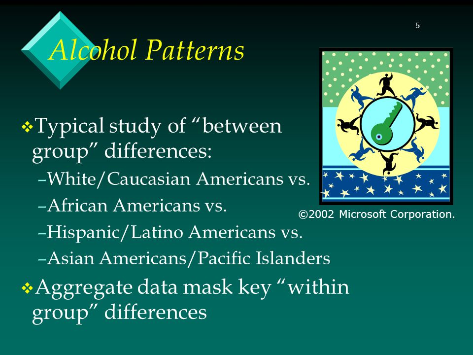16 Practice and research influence drinking by: –Influencing perceptions about ethnic groups' drinking patterns –Inattention to underlying social conditions, inequities that encourage drinking – Problematizing ethnic groups Ethnic/Cultural Influences (continued) ©2002 Microsoft Corporation.