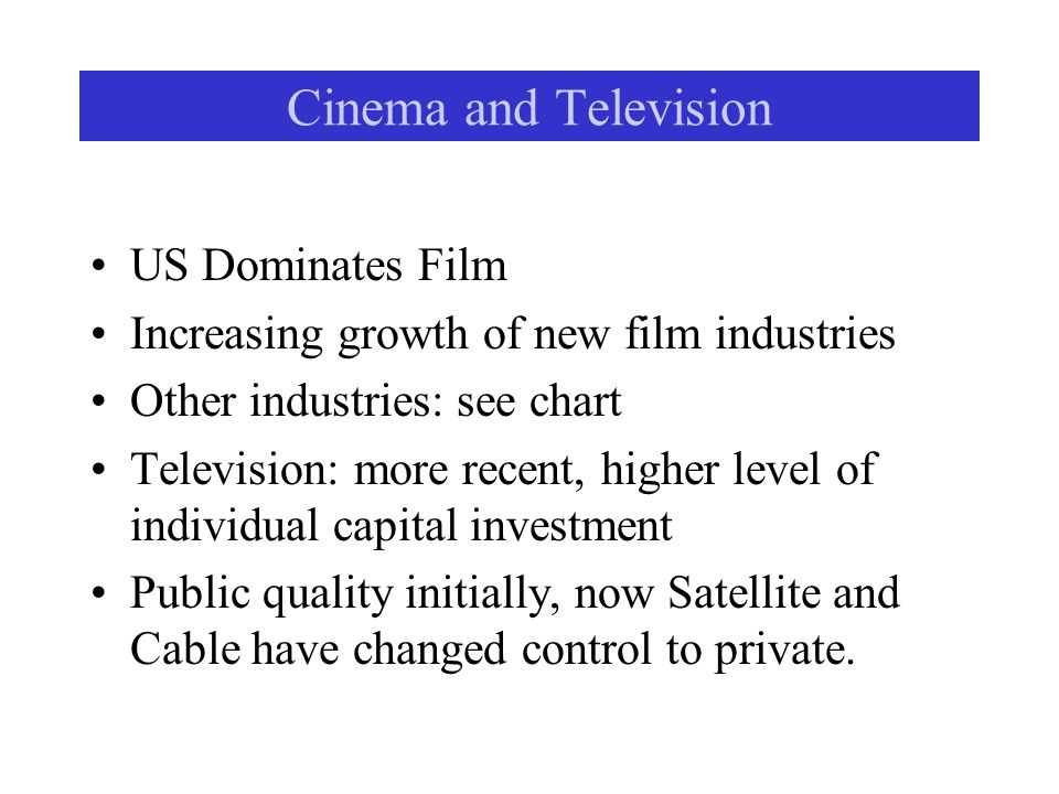 Cinema and Television US Dominates Film Increasing growth of new film industries Other industries: see chart Television: more recent, higher level of individual capital investment Public quality initially, now Satellite and Cable have changed control to private.