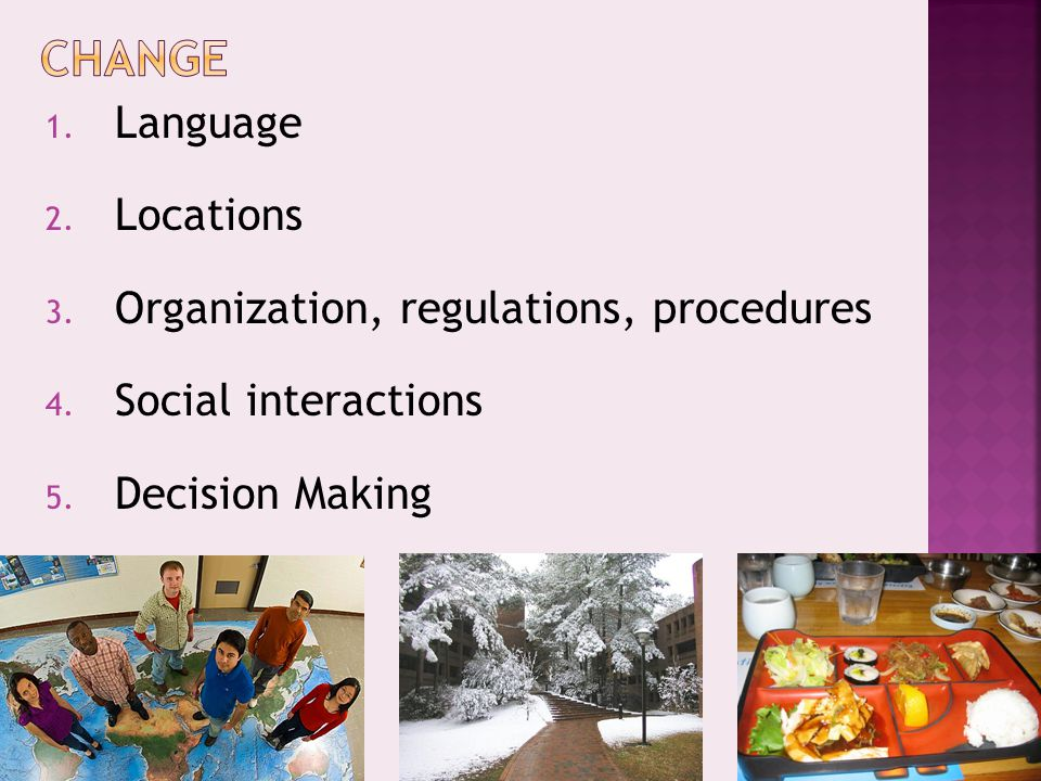 1. Language 2. Locations 3. Organization, regulations, procedures 4.