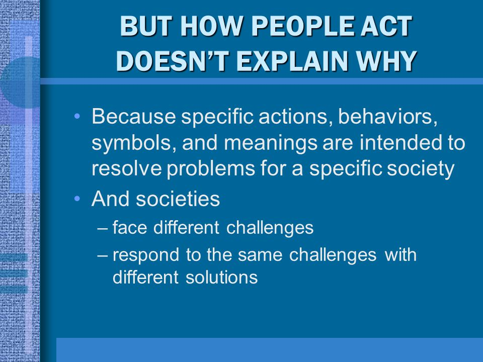 BUT HOW PEOPLE ACT DOESN'T EXPLAIN WHY Because specific actions, behaviors, symbols, and meanings are intended to resolve problems for a specific soci