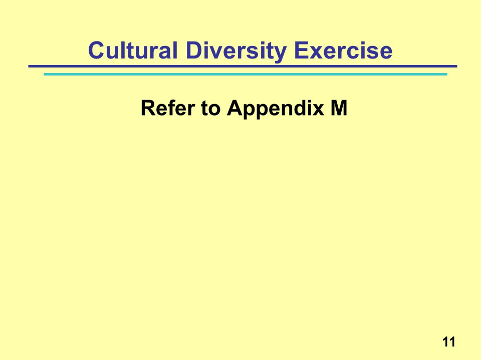 Cultural Diversity Exercise Refer to Appendix M 11
