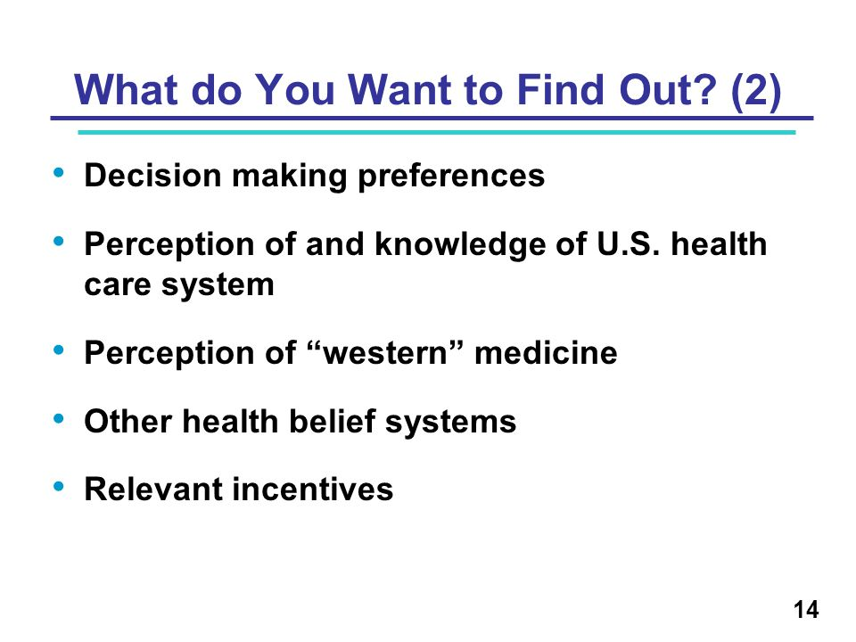 Decision making preferences Perception of and knowledge of U.S.