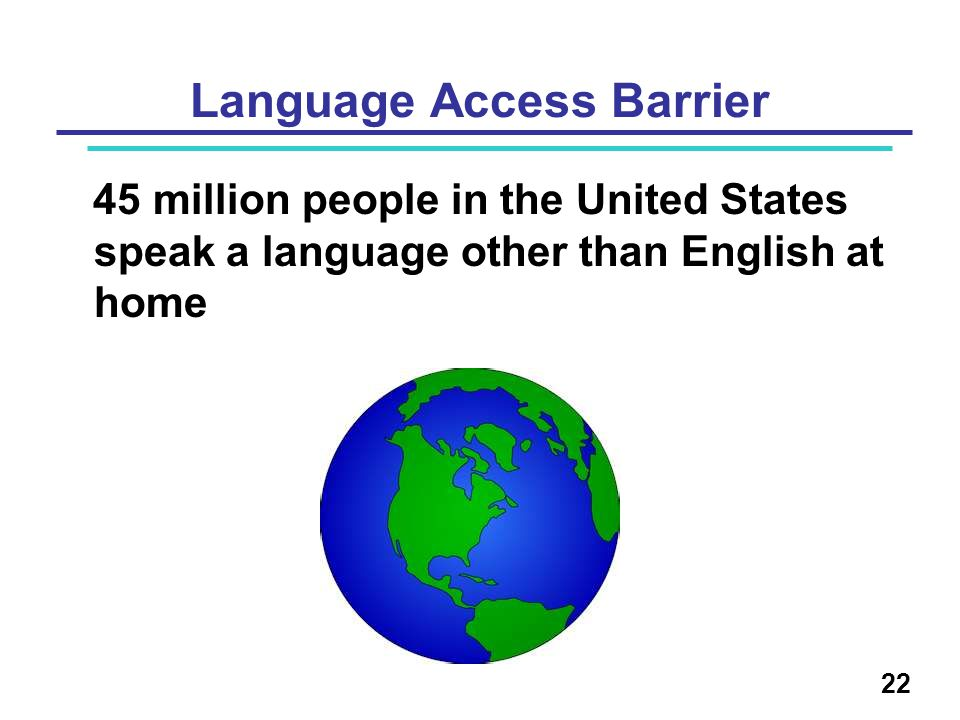 Language Access Barrier 45 million people in the United States speak a language other than English at home 22