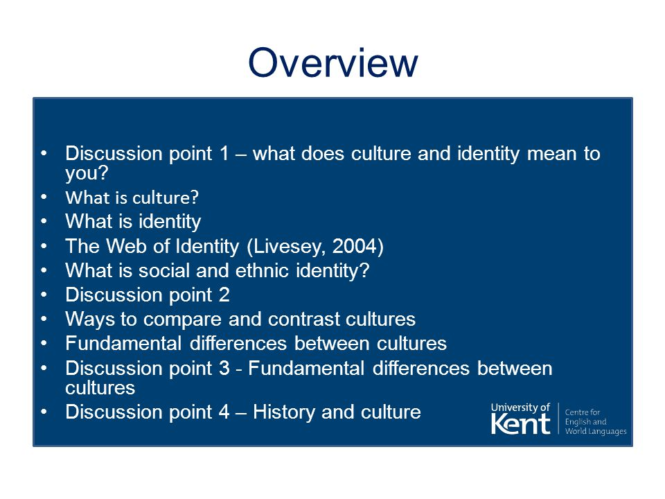 Overview Discussion point 1 – what does culture and identity mean to you? What is culture? What is identity The Web of Identity (Livesey, 2004) What