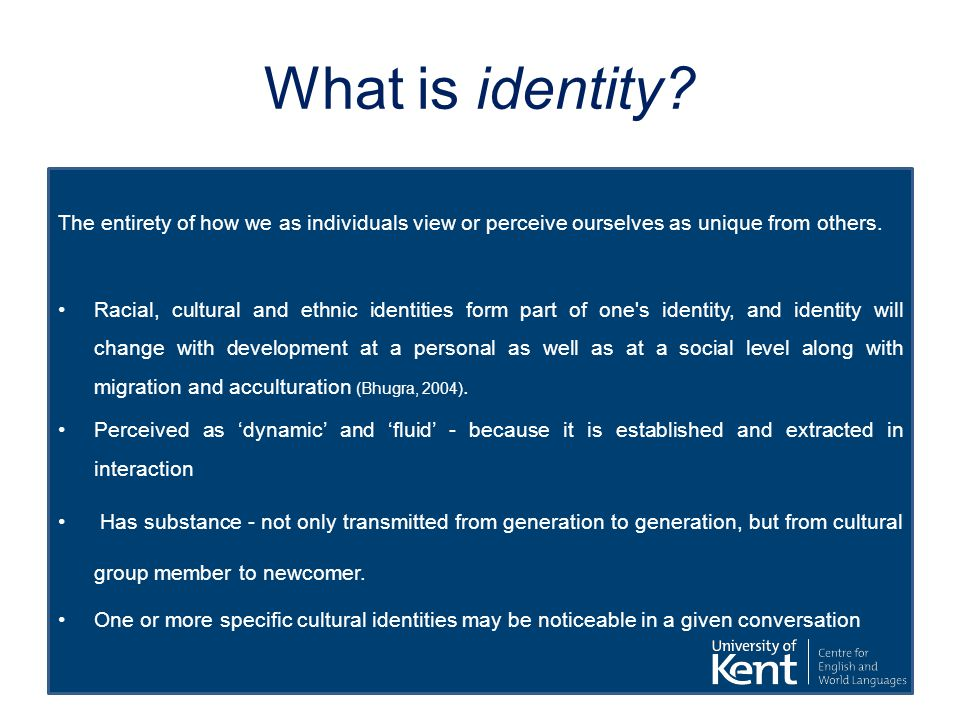 What is identity? The entirety of how we as individuals view or perceive ourselves as unique from others. Racial, cultural and ethnic identities form