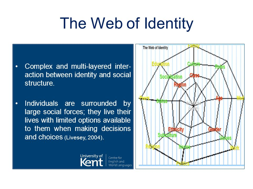 The Web of Identity Complex and multi-layered inter action between identity and social structure.