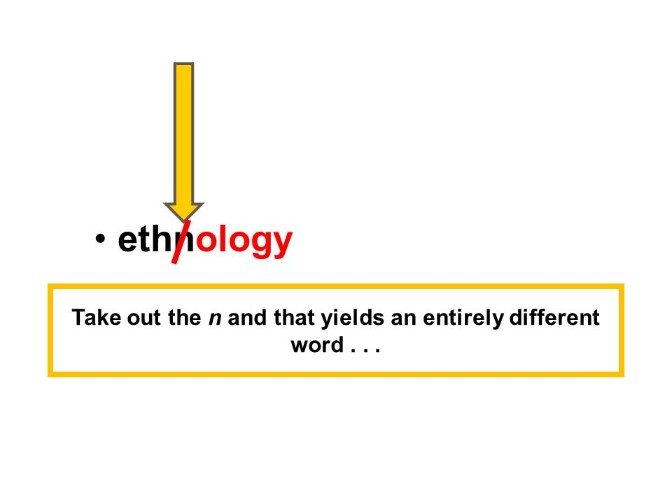 ethnology – comparative study of cultures Take out the n and that yields an entirely different word...