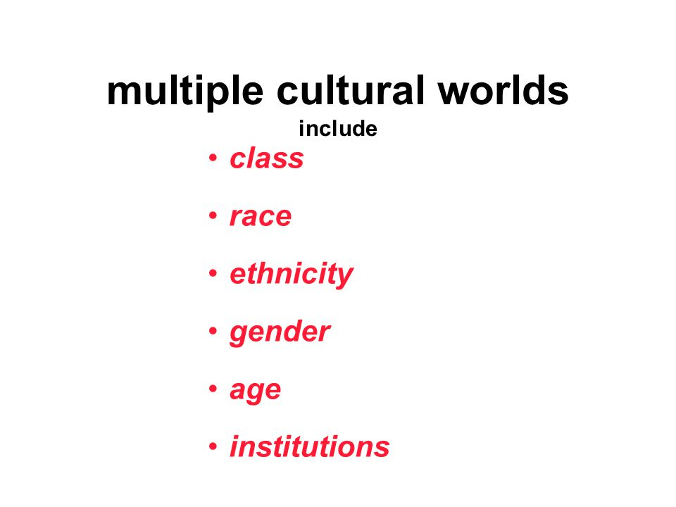 multiple cultural worlds include class race ethnicity gender age institutions