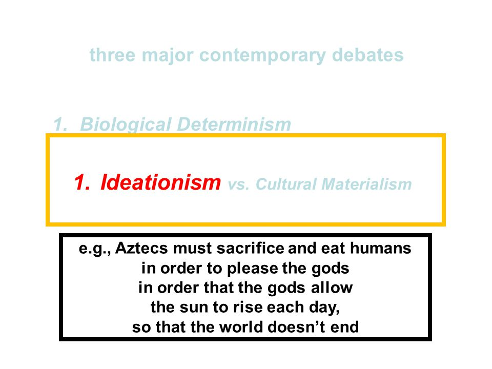 "1.Biological Determinism vs. Cultural Constructionism 2.Ideationism vs. Cultural Materialism 3.Individual Agency vs. Structuralism (""free will"" vs. ""p"