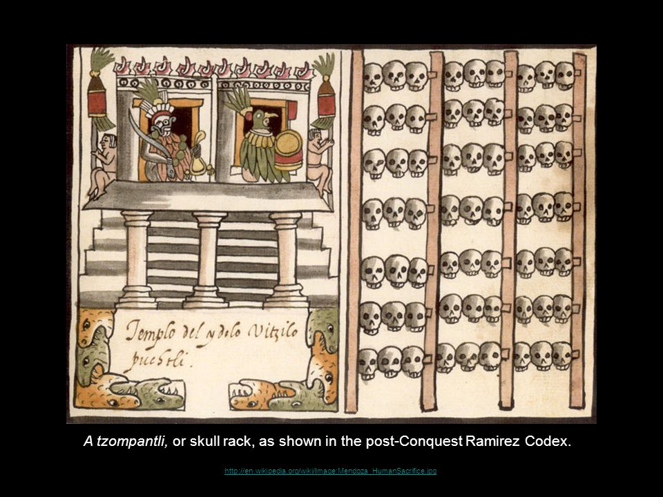 http://en.wikipedia.org/wiki/Image:Mendoza_HumanSacrifice.jpg A tzompantli, or skull rack, as shown in the post-Conquest Ramirez Codex.