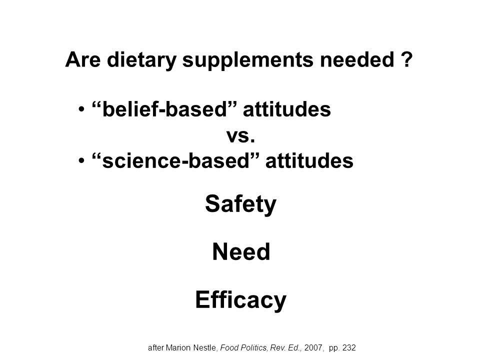 """belief-based"" attitudes vs. ""science-based"" attitudes Safety Need Efficacy Are dietary supplements needed ? after Marion Nestle, Food Politics, Rev."