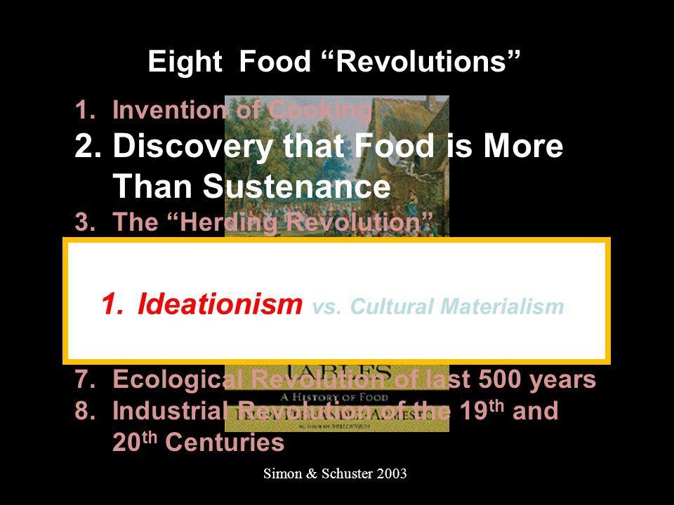Simon & Schuster 2003 Eight Food Revolutions 1.Invention of Cooking 2.Discovery that Food is More Than Sustenance 3.The Herding Revolution 4.Snail Farming 5.Use of Food as a Means and Index of Social Differentiation 6.Long-Range Exchange of Culture 7.Ecological Revolution of last 500 years 8.Industrial Revolution of the 19 th and 20 th Centuries 1.Ideationism vs.