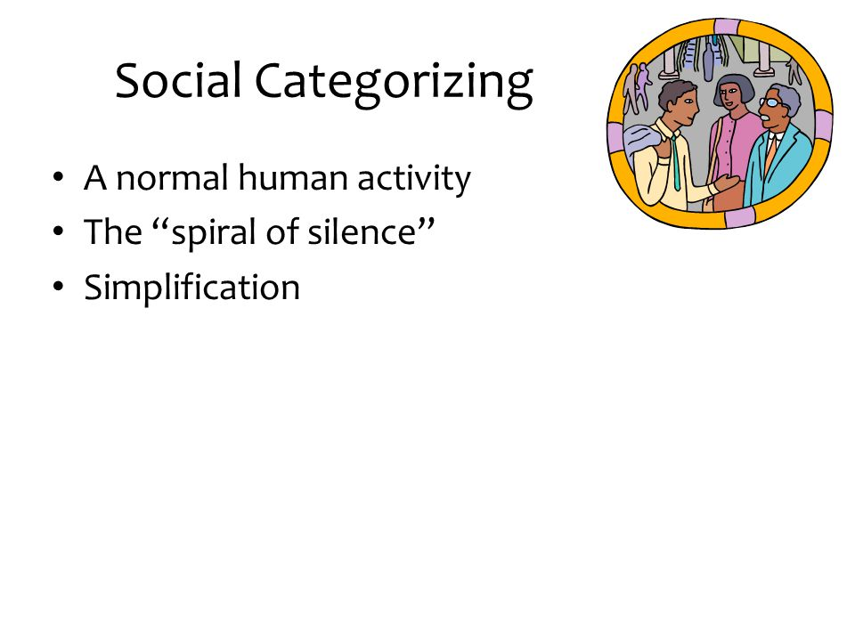 """Social Categorizing A normal human activity The """"spiral of silence"""" Simplification"""