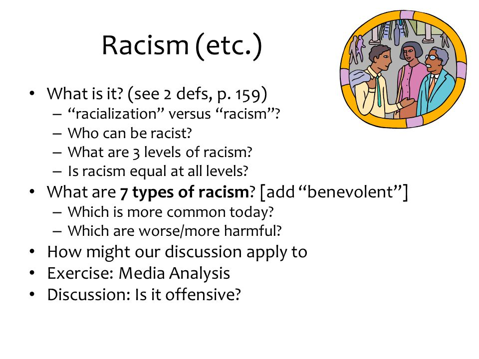 """Racism (etc.) What is it? (see 2 defs, p. 159) – """"racialization"""" versus """"racism""""? – Who can be racist? – What are 3 levels of racism? – Is racism equa"""
