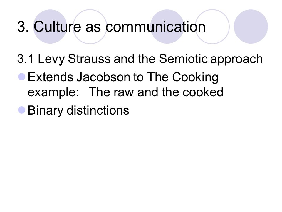 3. Culture as communication 3.1 Levy Strauss and the Semiotic approach Extends Jacobson to The Cooking example: The raw and the cooked Binary distinct