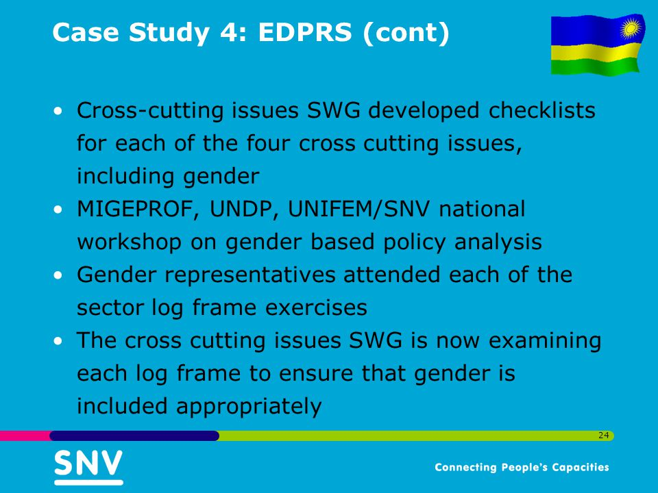 24 Case Study 4: EDPRS (cont) Cross-cutting issues SWG developed checklists for each of the four cross cutting issues, including gender MIGEPROF, UNDP, UNIFEM/SNV national workshop on gender based policy analysis Gender representatives attended each of the sector log frame exercises The cross cutting issues SWG is now examining each log frame to ensure that gender is included appropriately