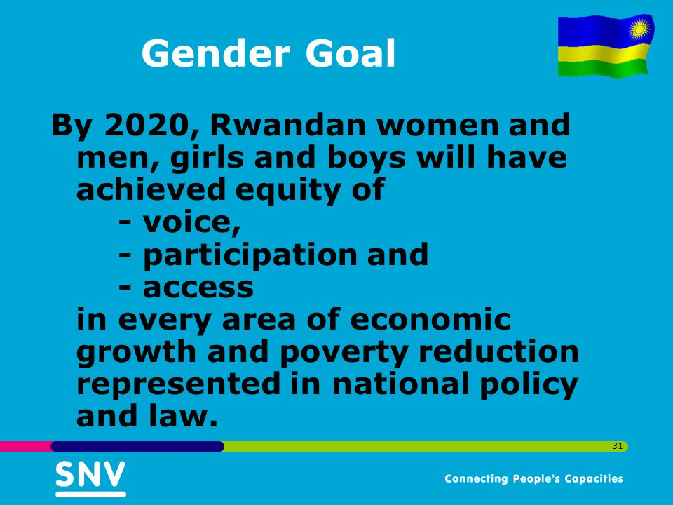 31 Gender Goal By 2020, Rwandan women and men, girls and boys will have achieved equity of - voice, - participation and - access in every area of economic growth and poverty reduction represented in national policy and law.