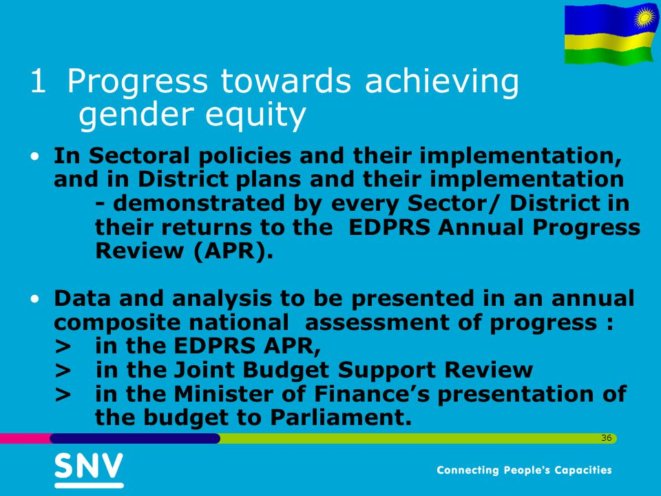 36 1Progress towards achieving gender equity In Sectoral policies and their implementation, and in District plans and their implementation - demonstrated by every Sector/ District in their returns to the EDPRS Annual Progress Review (APR).