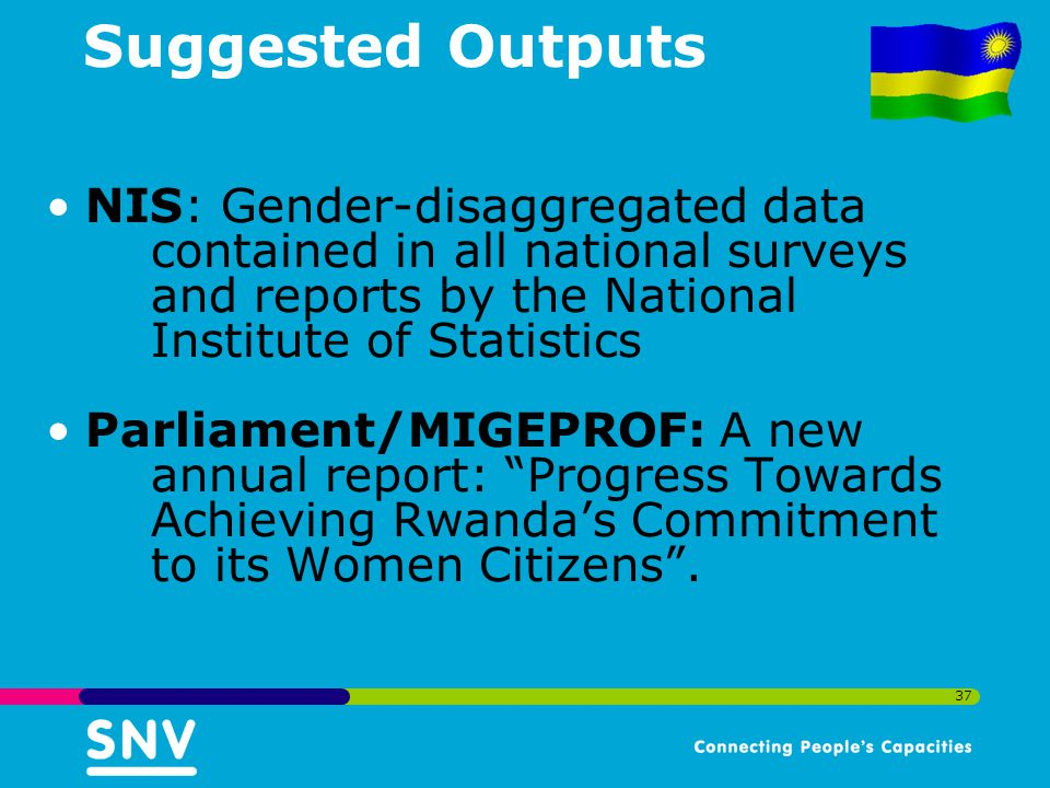 37 Suggested Outputs NIS: Gender-disaggregated data contained in all national surveys and reports by the National Institute of Statistics Parliament/MIGEPROF: A new annual report: Progress Towards Achieving Rwanda's Commitment to its Women Citizens .