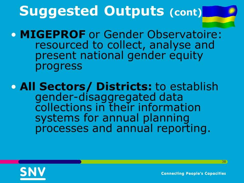 38 Suggested Outputs (cont) MIGEPROF or Gender Observatoire: resourced to collect, analyse and present national gender equity progress All Sectors/ Districts: to establish gender-disaggregated data collections in their information systems for annual planning processes and annual reporting.