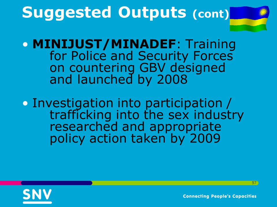 57 Suggested Outputs (cont) MINIJUST/MINADEF: Training for Police and Security Forces on countering GBV designed and launched by 2008 Investigation into participation / trafficking into the sex industry researched and appropriate policy action taken by 2009