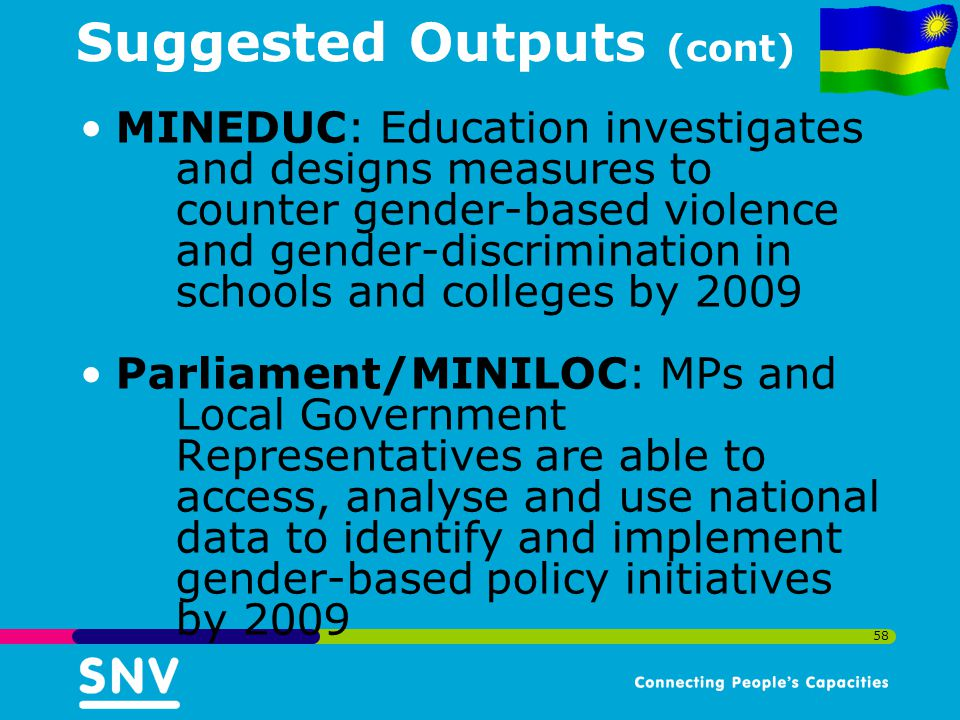 58 Suggested Outputs (cont) MINEDUC: Education investigates and designs measures to counter gender-based violence and gender-discrimination in schools and colleges by 2009 Parliament/MINILOC: MPs and Local Government Representatives are able to access, analyse and use national data to identify and implement gender-based policy initiatives by 2009