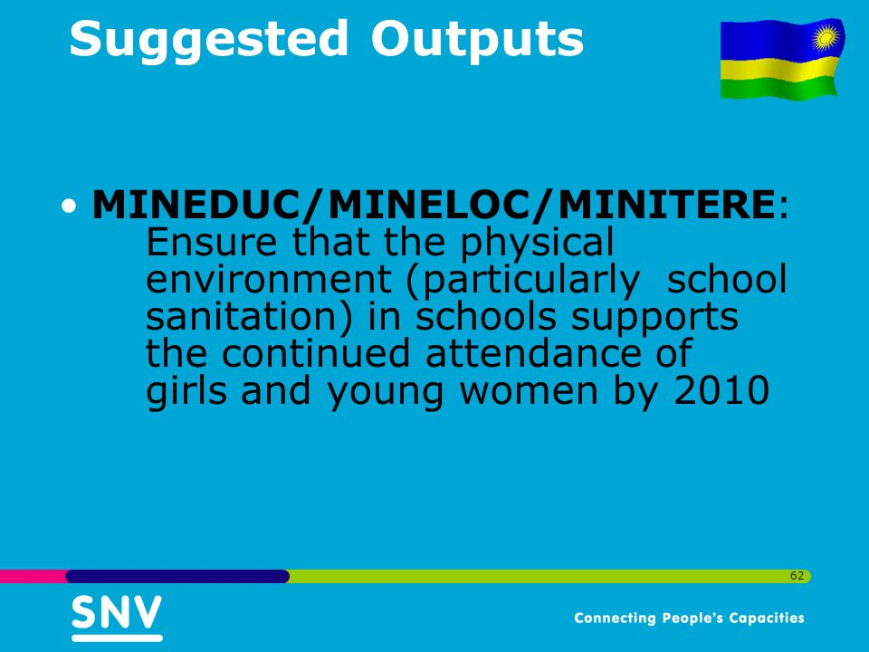 62 Suggested Outputs MINEDUC/MINELOC/MINITERE: Ensure that the physical environment (particularly school sanitation) in schools supports the continued attendance of girls and young women by 2010