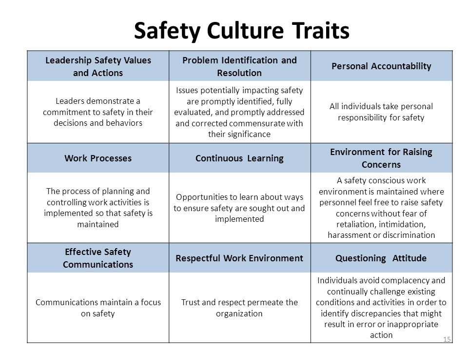 15 Safety Culture Traits Leadership Safety Values and Actions Problem Identification and Resolution Personal Accountability Leaders demonstrate a commitment to safety in their decisions and behaviors Issues potentially impacting safety are promptly identified, fully evaluated, and promptly addressed and corrected commensurate with their significance All individuals take personal responsibility for safety Work ProcessesContinuous Learning Environment for Raising Concerns The process of planning and controlling work activities is implemented so that safety is maintained Opportunities to learn about ways to ensure safety are sought out and implemented A safety conscious work environment is maintained where personnel feel free to raise safety concerns without fear of retaliation, intimidation, harassment or discrimination Effective Safety Communications Respectful Work EnvironmentQuestioning Attitude Communications maintain a focus on safety Trust and respect permeate the organization Individuals avoid complacency and continually challenge existing conditions and activities in order to identify discrepancies that might result in error or inappropriate action