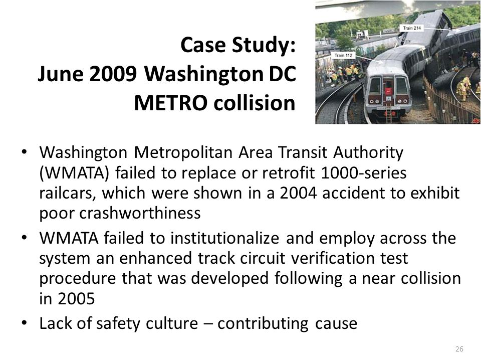26 Washington Metropolitan Area Transit Authority (WMATA) failed to replace or retrofit 1000-series railcars, which were shown in a 2004 accident to exhibit poor crashworthiness WMATA failed to institutionalize and employ across the system an enhanced track circuit verification test procedure that was developed following a near collision in 2005 Lack of safety culture – contributing cause Case Study: June 2009 Washington DC METRO collision