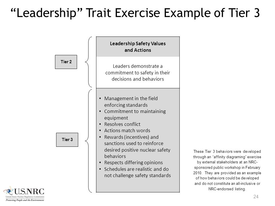 """Leadership"" Trait Exercise Example of Tier 3 24 Leadership Safety Values and Actions Leaders demonstrate a commitment to safety in their decisions an"