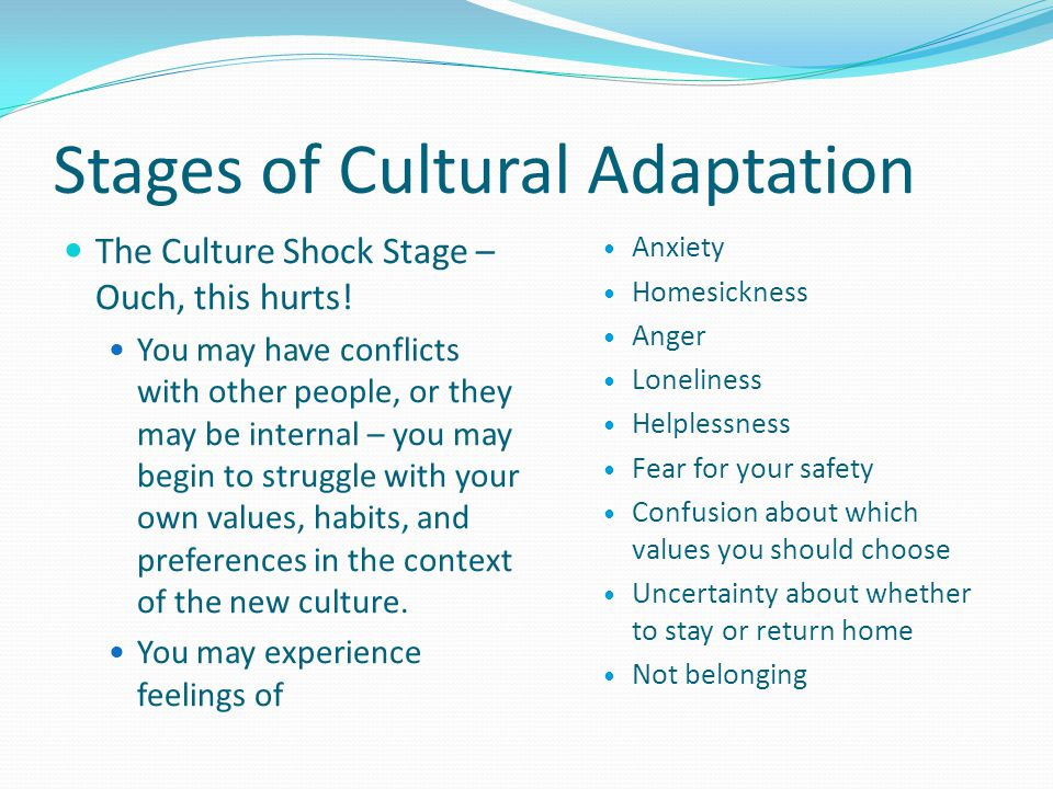 Stages of Cultural Adaptation The Culture Shock Stage – Ouch, This Hurts.