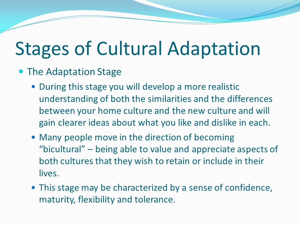 Stages of Cultural Adaptation The Recovery Stage After spending more time in the new culture, most people begin to resolve some of the conflicts that they are experiencing and to regain a sense of appreciation that they might have experienced in the first stage.