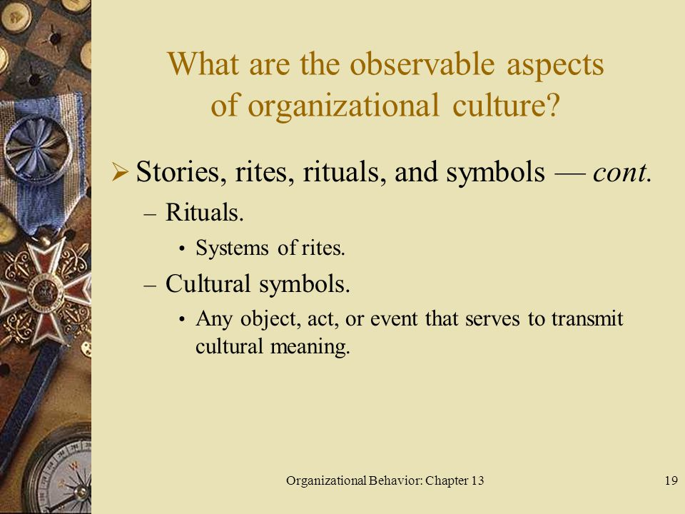 Organizational Behavior: Chapter 1319 What are the observable aspects of organizational culture?  Stories, rites, rituals, and symbols — cont. – Ritu