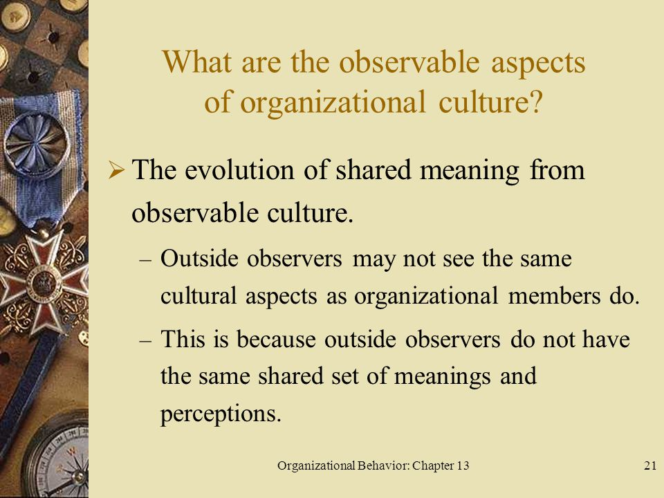 Organizational Behavior: Chapter 1321 What are the observable aspects of organizational culture?  The evolution of shared meaning from observable cul