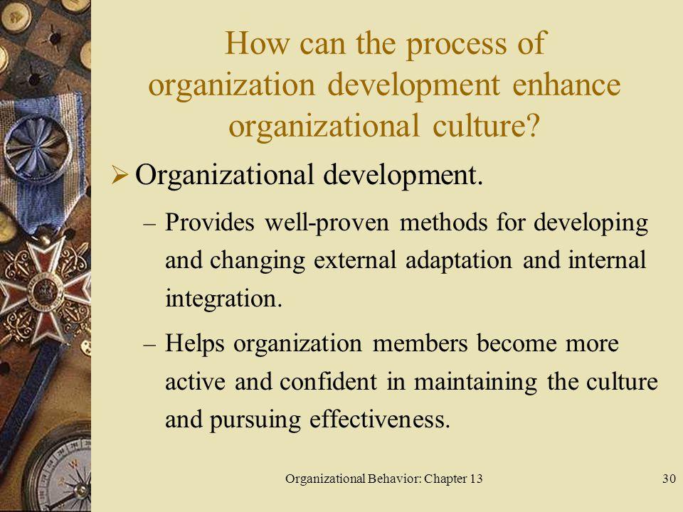 Organizational Behavior: Chapter 1330 How can the process of organization development enhance organizational culture.
