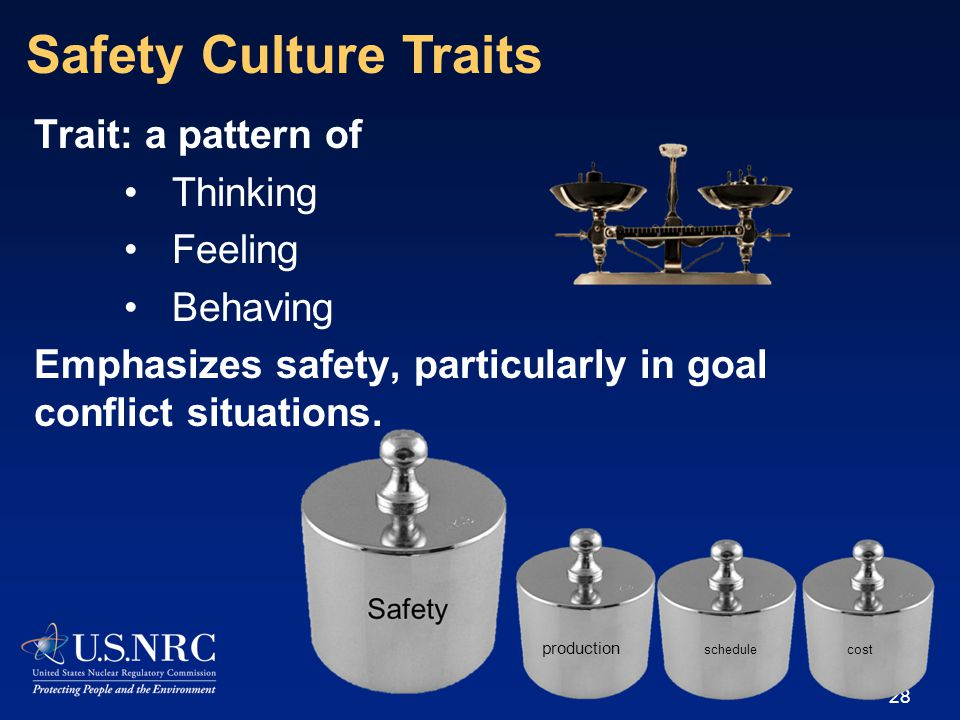 Trait: a pattern of Thinking Feeling Behaving Emphasizes safety, particularly in goal conflict situations.