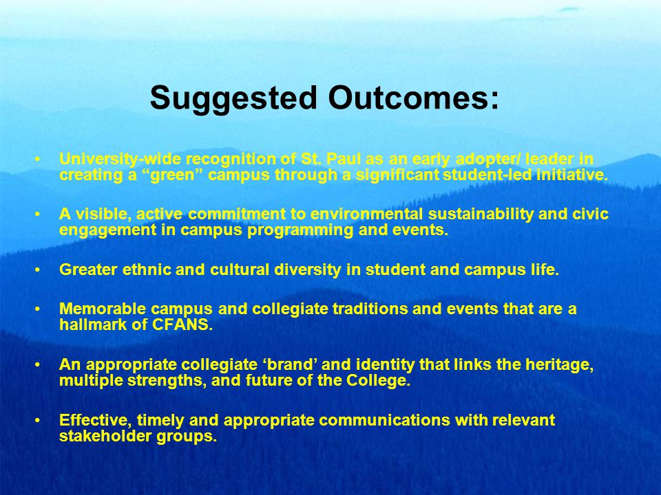 Suggested Outcomes: University-wide recognition of St.