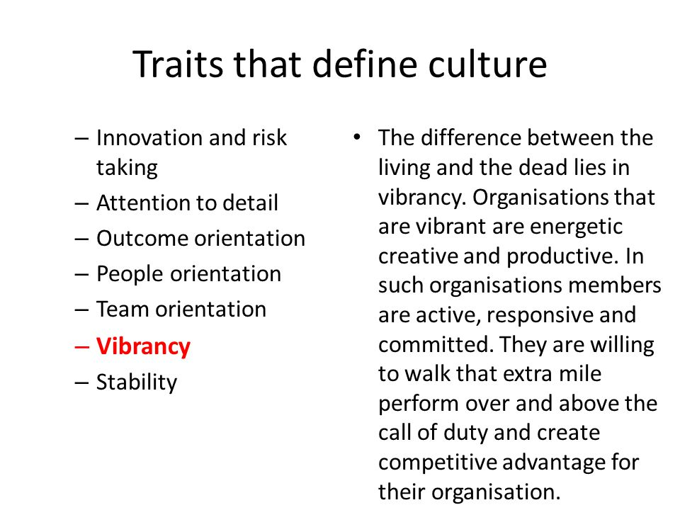 Traits that define culture – Innovation and risk taking – Attention to detail – Outcome orientation – People orientation – Team orientation – Vibrancy – Stability The difference between the living and the dead lies in vibrancy.