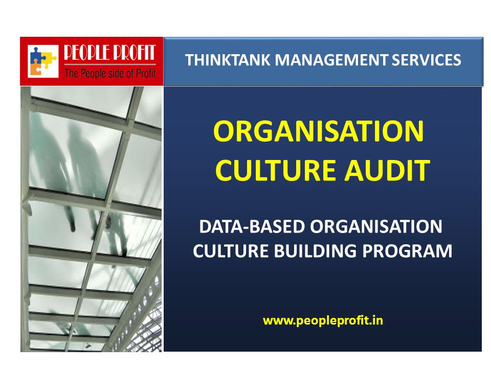 ORGANISATION CULTURE AUDIT DATA-BASED ORGANISATION CULTURE BUILDING PROGRAM www.peopleprofit.in THINKTANK MANAGEMENT SERVICES THINKTANK MANAGEMENT SER