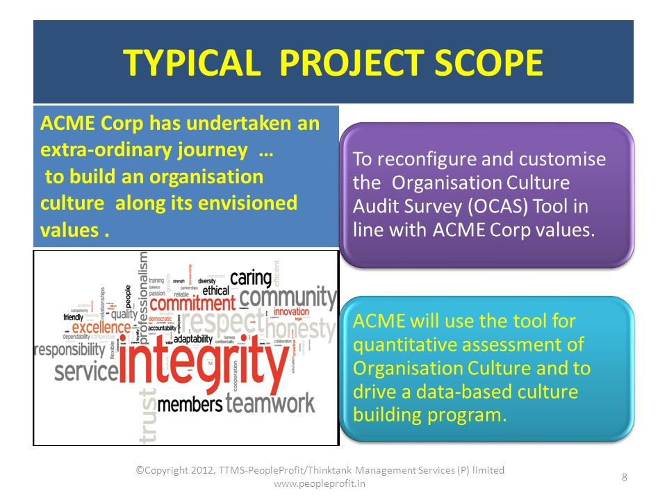 SURVEY METHODOLOGY ©Copyright 2012, TTMS-PeopleProfit/Thinktank Management Services (P) limited www.peopleprofit.in 9 Organisation Culture Audit Survey (OCAS) is a quantitative culture assessment tool.