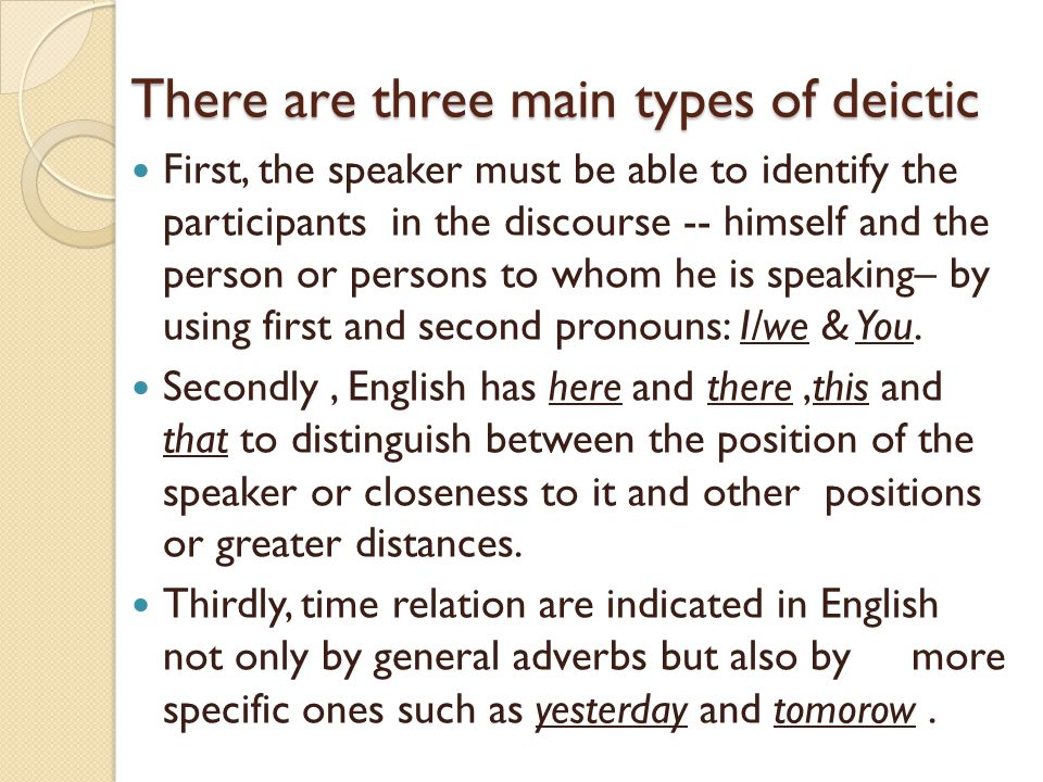 There are three main types of deictic First, the speaker must be able to identify the participants in the discourse -- himself and the person or perso