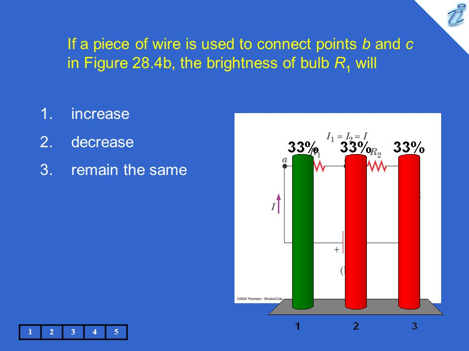 If a piece of wire is used to connect points b and c in Figure 28.4b, the brightness of bulb R 1 will 12345 1.increase 2.decrease 3.remain the same