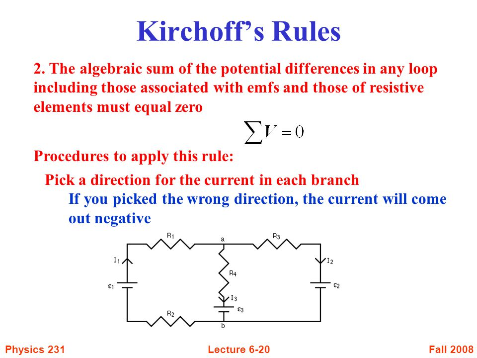 Fall 2008Physics 231Lecture 6-20 Kirchoff's Rules 2. The algebraic sum of the potential differences in any loop including those associated with emfs a