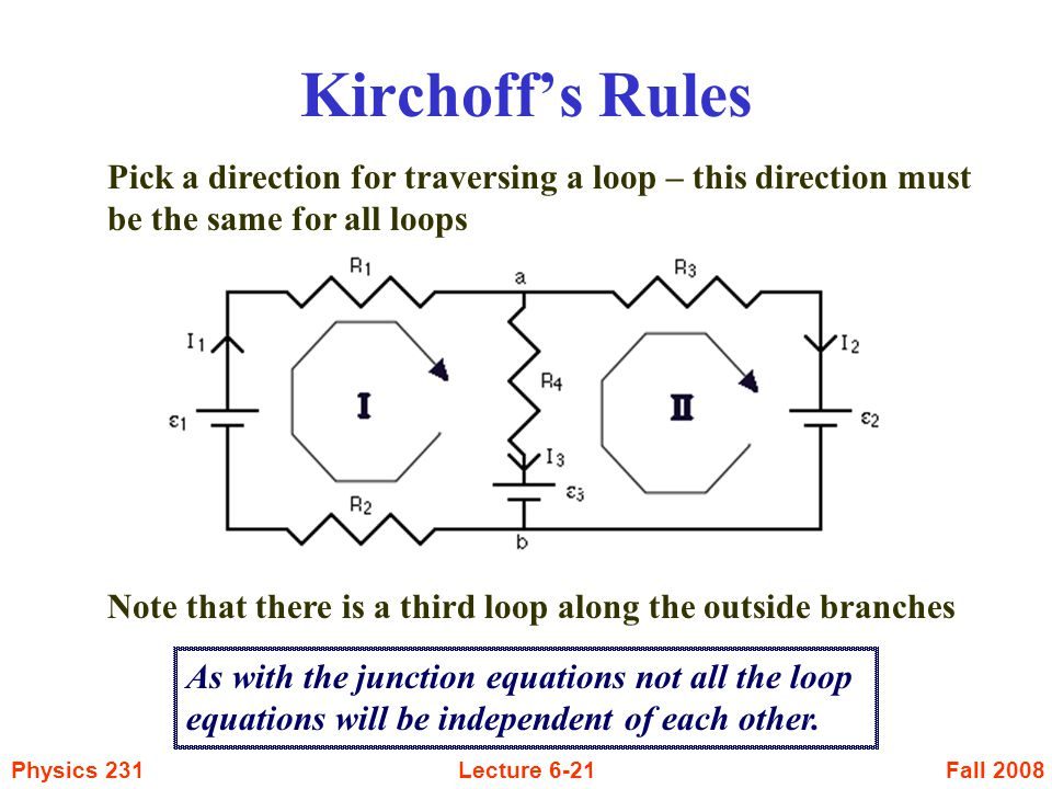 Fall 2008Physics 231Lecture 6-21 Kirchoff's Rules Pick a direction for traversing a loop – this direction must be the same for all loops Note that the