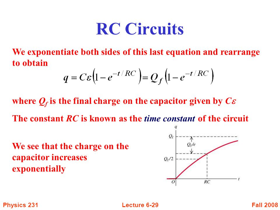Fall 2008Physics 231Lecture 6-29 RC Circuits We exponentiate both sides of this last equation and rearrange to obtain where Q f is the final charge on